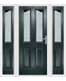 The Birmingham Composite Door in Grey (Anthracite) with Jewel Glazing and matching Side Panels