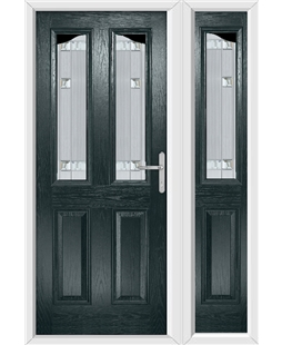 The Birmingham Composite Door in Grey (Anthracite) with Milan Glazing and Matching Side Panel