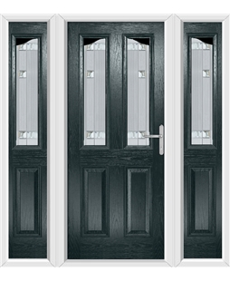 The Birmingham Composite Door in Grey (Anthracite) with Milan Glazing and matching Side Panels