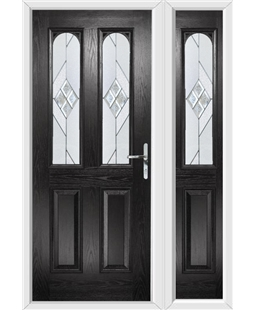 The Aberdeen Composite Door in Black with Eclipse Glazing and Matching Side Panel