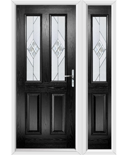 The Cardiff Composite Door in Black with Eclipse Glazing and Matching Side Panel