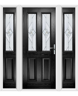 The Cardiff Composite Door in Black with Eclipse Glazing and matching Side Panels