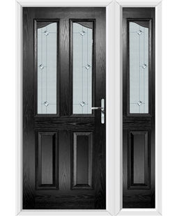 The Birmingham Composite Door in Black with Jewel Glazing and Matching Side Panel
