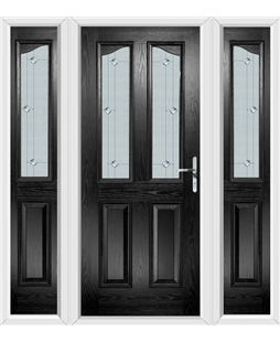 The Birmingham Composite Door in Black with Jewel Glazing and matching Side Panels