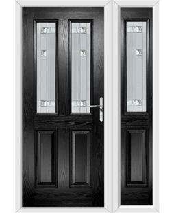 The Cardiff Composite Door in Black with Milan Glazing and Matching Side Panel
