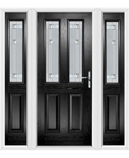 The Cardiff Composite Door in Black with Milan Glazing and matching Side Panels