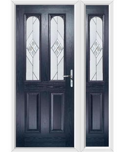 The Aberdeen Composite Door in Blue with Eclipse Glazing and Matching Side Panel