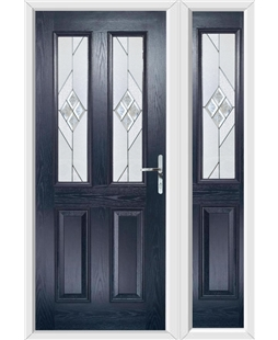 The Cardiff Composite Door in Blue with Eclipse Glazing and Matching Side Panel
