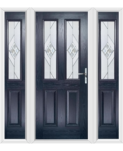 The Cardiff Composite Door in Blue with Eclipse Glazing and matching Side Panels