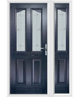 The Birmingham Composite Door in Blue with Jewel Glazing and Matching Side Panel