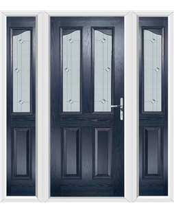 The Birmingham Composite Door in Blue with Jewel Glazing and matching Side Panels