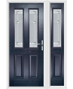 The Cardiff Composite Door in Blue with Milan Glazing and Matching Side Panel