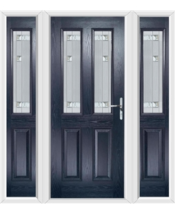 The Cardiff Composite Door in Blue with Milan Glazing and matching Side Panels