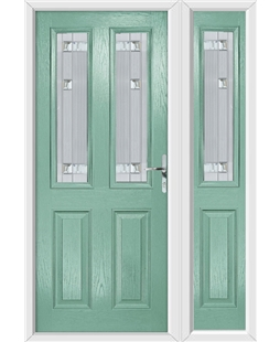 The Cardiff Composite Door in Green (Chartwell) with Milan Glazing and Matching Side Panel