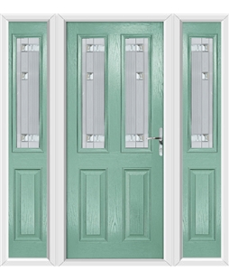The Cardiff Composite Door in Green (Chartwell) with Milan Glazing and matching Side Panels