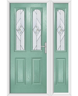 The Aberdeen Composite Door in Green (Chartwell) with Eclipse Glazing and Matching Side Panel