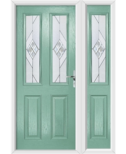 The Cardiff Composite Door in Green (Chartwell) with Eclipse Glazing and Matching Side Panel