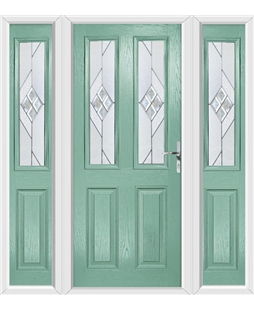 The Cardiff Composite Door in Green (Chartwell) with Eclipse Glazing and matching Side Panels
