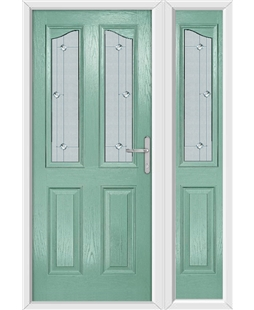 The Birmingham Composite Door in Green (Chartwell) with Jewel Glazing and Matching Side Panel