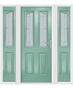 The Birmingham Composite Door in Green (Chartwell) with Jewel Glazing and matching Side Panels