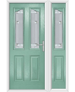 The Birmingham Composite Door in Green (Chartwell) with Milan Glazing and Matching Side Panel