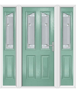 The Birmingham Composite Door in Green (Chartwell) with Milan Glazing and matching Side Panels