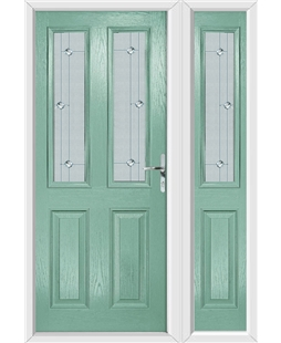 The Cardiff Composite Door in Green (Chartwell) with Jewel Glazing and Matching Side Panel