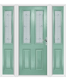 The Cardiff Composite Door in Green (Chartwell) with Jewel Glazing and matching Side Panels