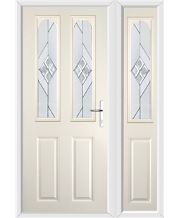 The Aberdeen Composite Door in Cream with Eclipse Glazing and Matching Side Panel