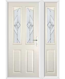 The Birmingham Composite Door in Cream with Eclipse Glazing and Matching Side Panel