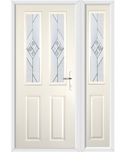 The Cardiff Composite Door in Cream with Eclipse Glazing and Matching Side Panel