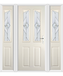 The Birmingham Composite Door in Cream with Eclipse Glazing and matching Side Panels