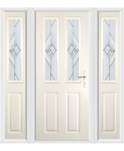 The Cardiff Composite Door in Cream with Eclipse Glazing and matching Side Panels