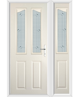 The Birmingham Composite Door in Cream with Jewel Glazing and Matching Side Panel