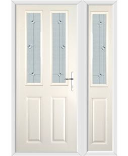 The Cardiff Composite Door in Cream with Jewel Glazing and Matching Side Panel
