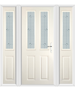 The Cardiff Composite Door in Cream with Jewel Glazing and matching Side Panels