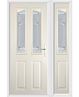 The Birmingham Composite Door in Cream with Milan Glazing and Matching Side Panel