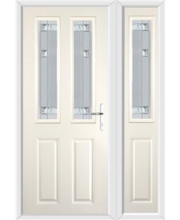 The Cardiff Composite Door in Cream with Milan Glazing and Matching Side Panel