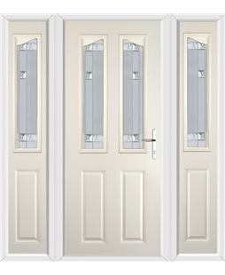 The Birmingham Composite Door in Cream with Milan Glazing and matching Side Panels