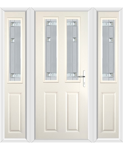 The Cardiff Composite Door in Cream with Milan Glazing and matching Side Panels