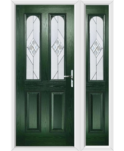 The Aberdeen Composite Door in Green with Eclipse Glazing and Matching Side Panel