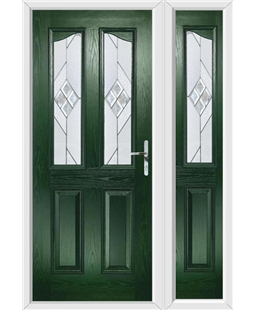 The Birmingham Composite Door in Green with Eclipse Glazing and Matching Side Panel