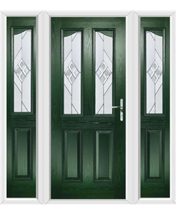 The Birmingham Composite Door in Green with Eclipse Glazing and matching Side Panels
