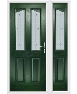 The Birmingham Composite Door in Green with Jewel Glazing and Matching Side Panel