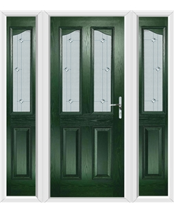 The Birmingham Composite Door in Green with Jewel Glazing and matching Side Panels