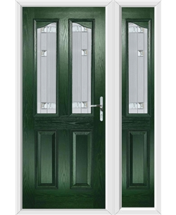 The Birmingham Composite Door in Green with Milan Glazing and Matching Side Panel