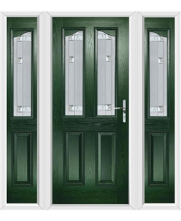 The Birmingham Composite Door in Green with Milan Glazing and matching Side Panels