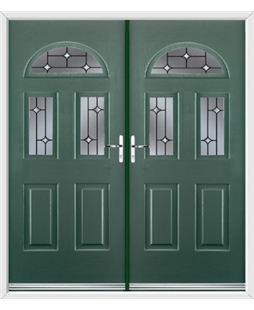 Tennessee French Rockdoor in Emerald Green with Crystal Bevel