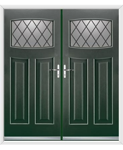 Newark French Rockdoor in Emerald Green with Diamond Lead