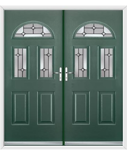 Tennessee French Rockdoor in Emerald Green with Linear